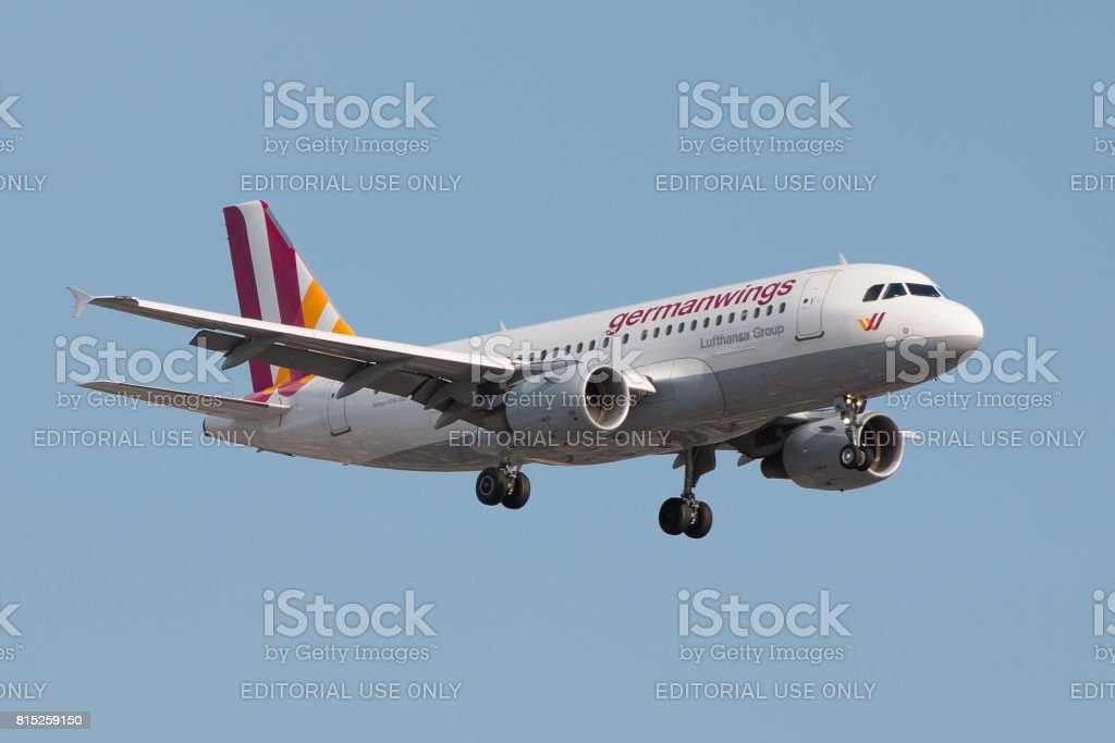 Germanwings plane landing stock photo