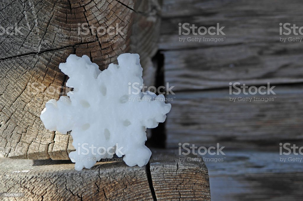 Germany, Ammersee, Wax snow-crystal on wood lodge stock photo