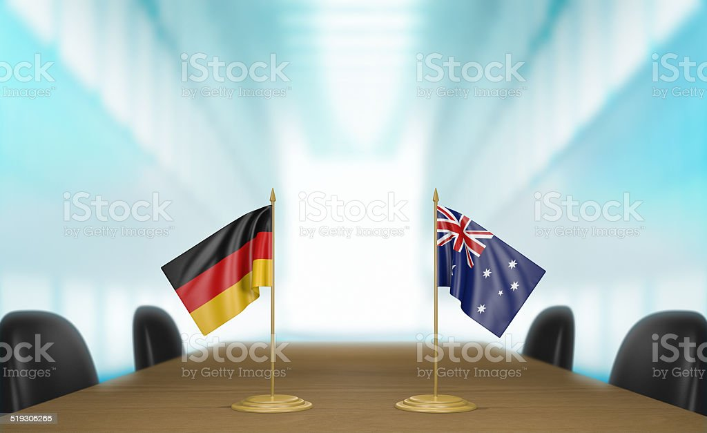 Germany and Australia relations and trade deal talks 3D rendering stock photo