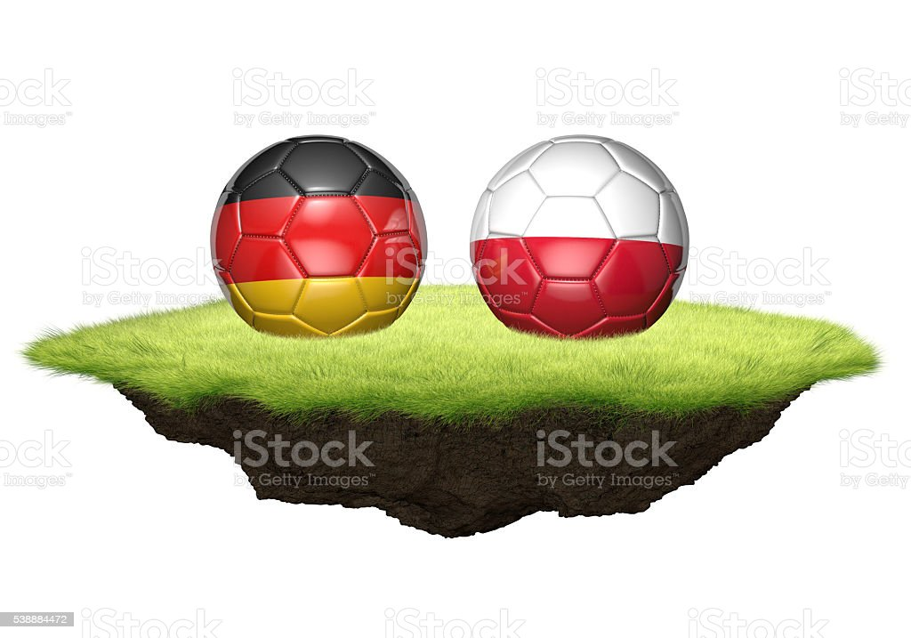 Germany and Poland team balls for football championship tournament stock photo