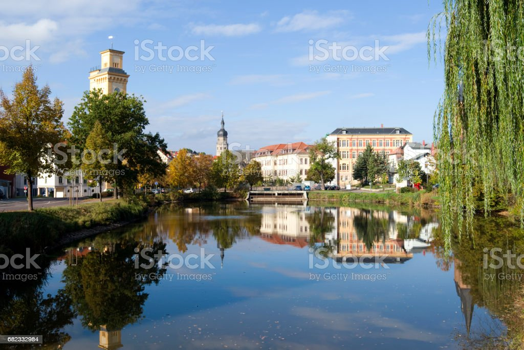 "Germany: Autumnal view over the ""Little Pond"" in Altenburg stock photo"