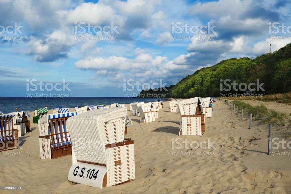 Germany Baltic Sea Göhren Beach with typical Chairs Summer royalty-free stock photo