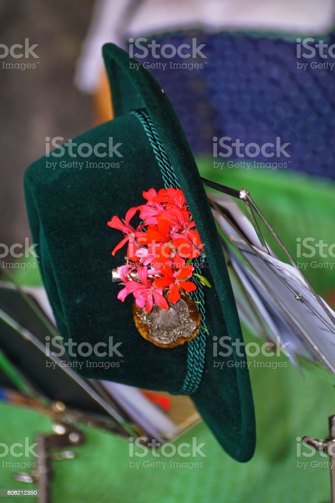 Germany Bavaria. Customs, tradition and lifestyle. Brass band traditional hat. stock photo