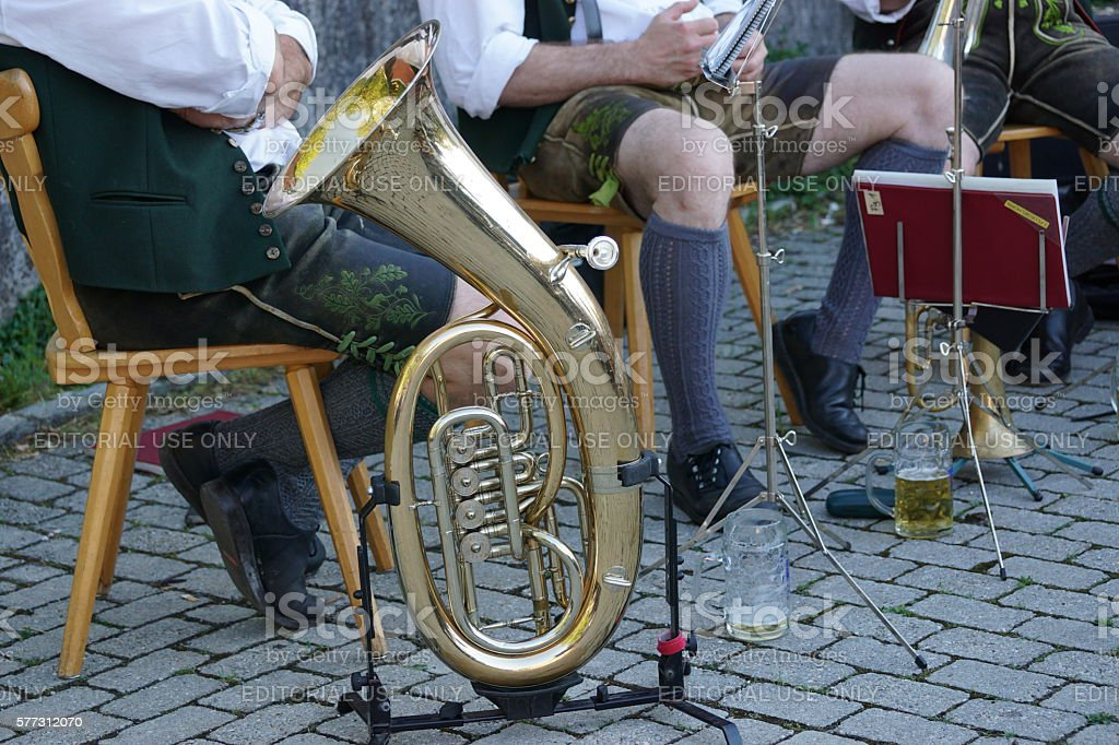 Germany Bavaria. Customs, tradition and lifestyle. Brass band instrument tuba stock photo