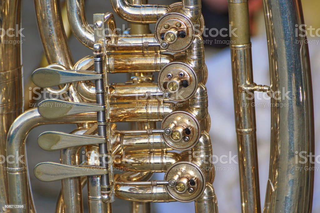 Germany Bavaria. Customs, tradition and lifestyle. Brass band instrument tuba. stock photo