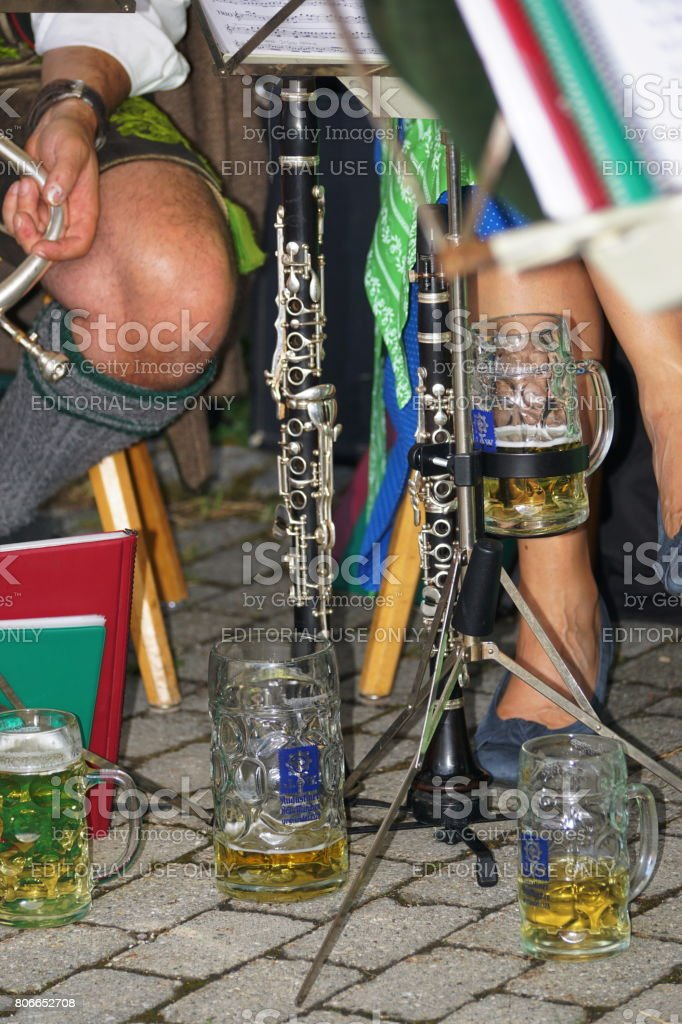 Germany Bavaria. Customs, tradition and lifestyle. Brass band instrument clarinet. stock photo