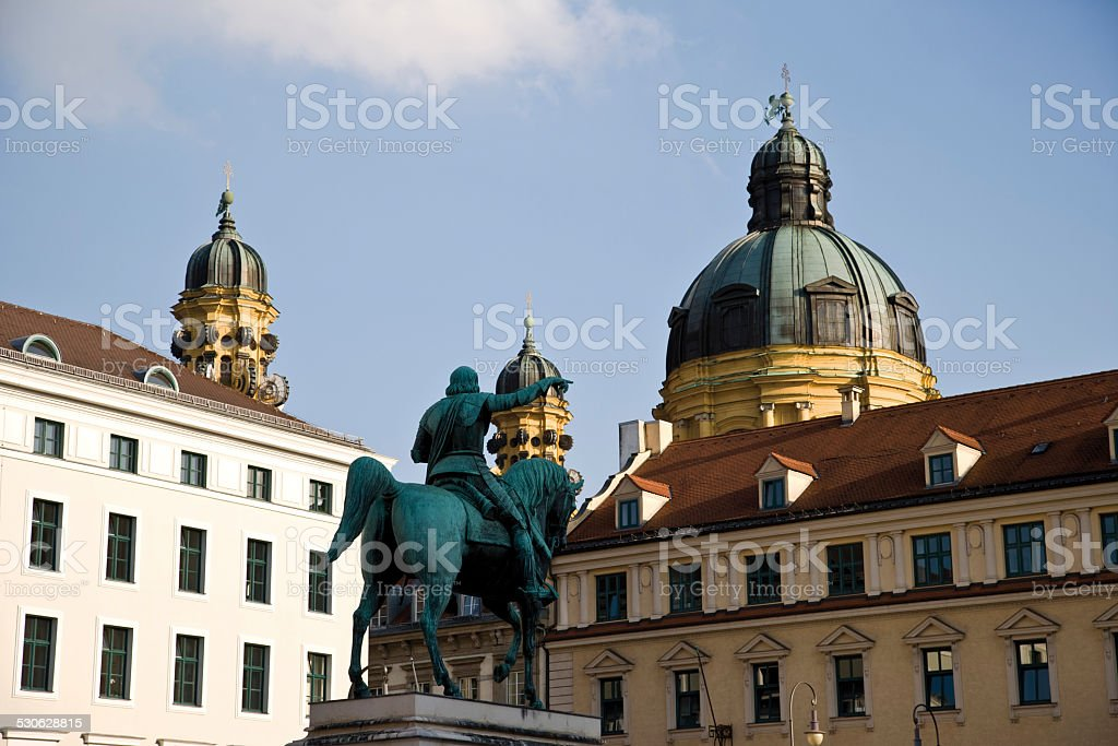 Germany, Bavaria, Munich, Equestrian Statue stock photo