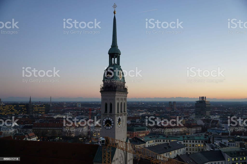 Germany Bavaria. Munich - The Church of St. Peter at twilight. stock photo