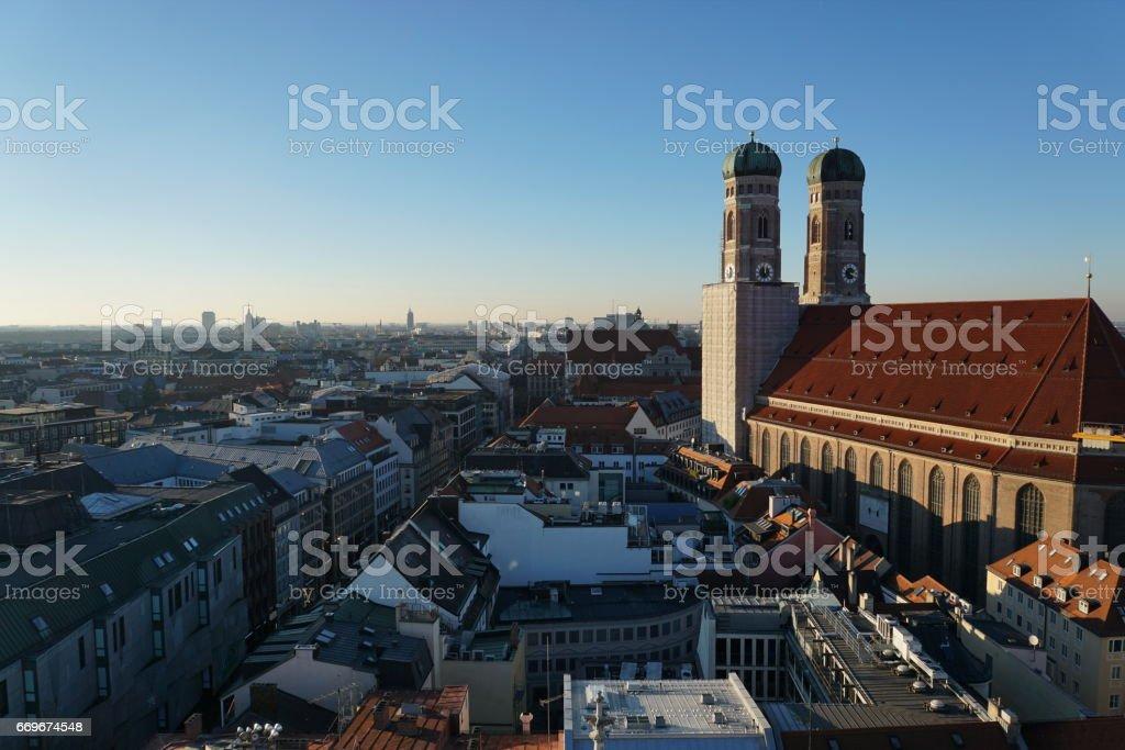Germany Bavaria. Munich -  The pedestrian zone at sundown. stock photo