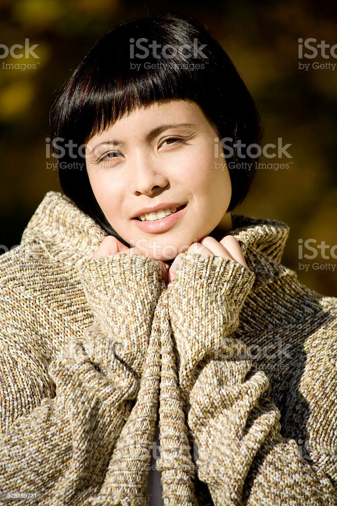 Germany, Bavaria, Portrait of a young woman stock photo