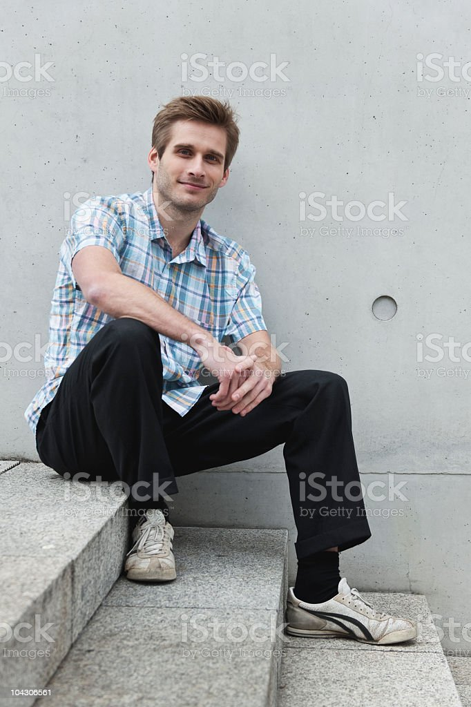Germany, Berlin, Man smiling, portrait royalty-free stock photo