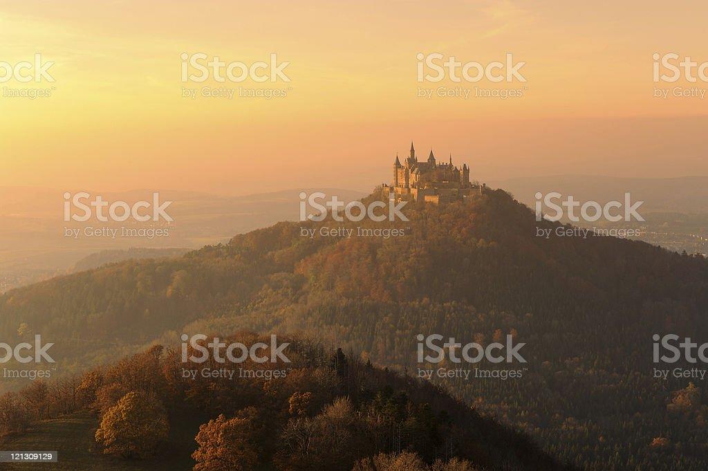 Germany Castle Hohenzollern Moody Fall Sunset Light Fog stock photo