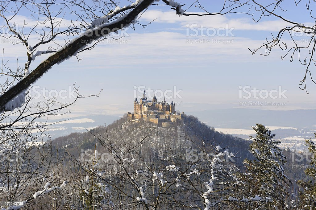 Germany Castle Hohenzollern Winter Time View of Forest royalty-free stock photo