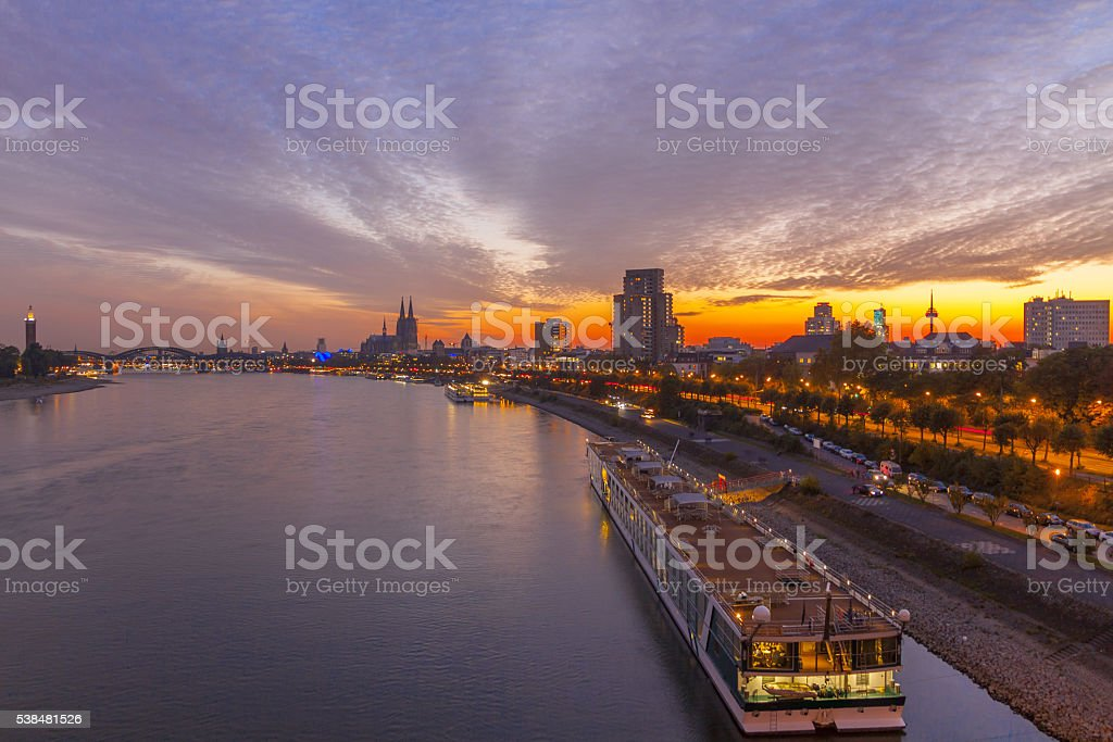 Germany, Cologne, Rhine, sunset stock photo