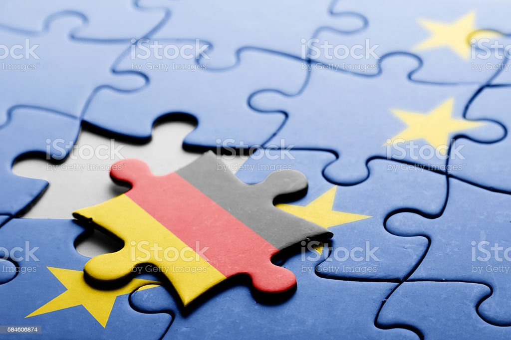 Germany. Exit from European Union concept puzzle stock photo