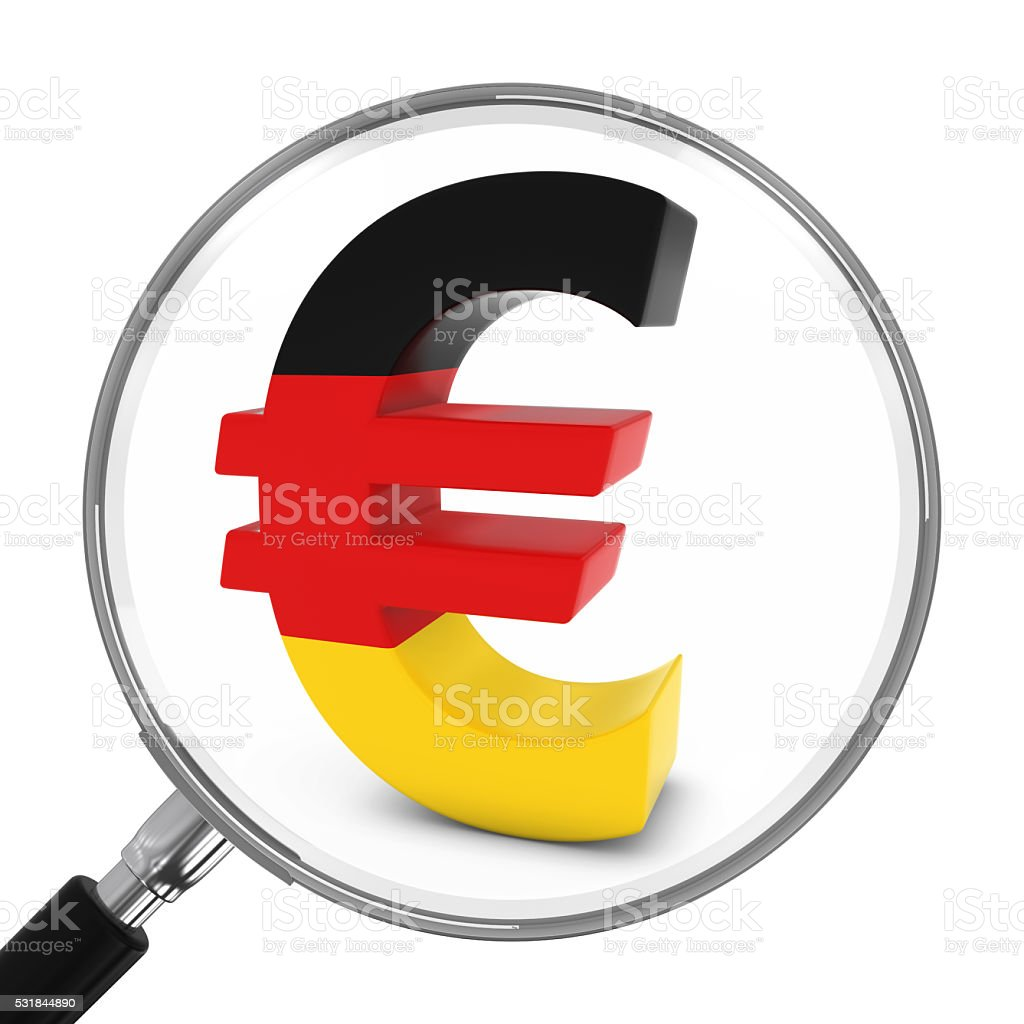 Germany Finance Concept - German Euro Symbol Under Magnifying Glass stock photo