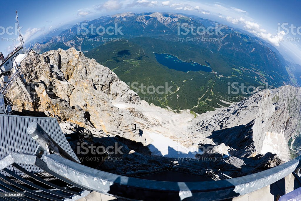 Germany, Fish-eye lens view of eibsee lake  from Zugspitze mountain stock photo