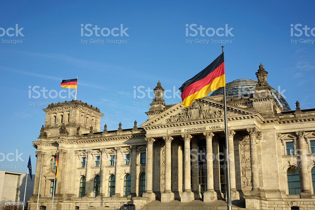 Germany Flag At Reichstag Building Berlin stock photo