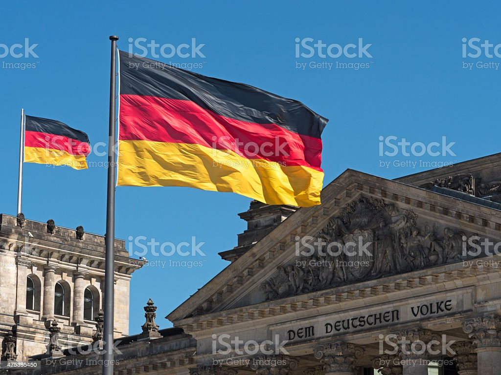 Germany flag on the Reichstag stock photo