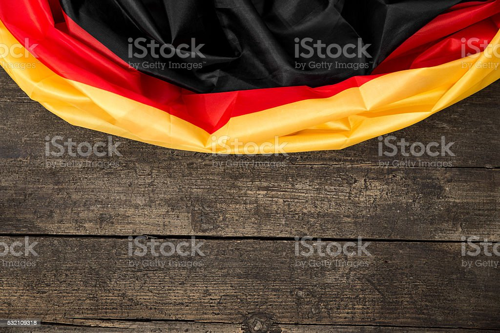 Germany Flag on wooden Table with copyspace stock photo