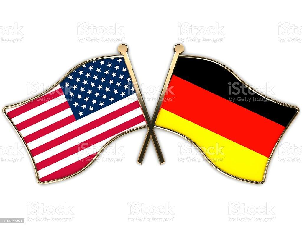 USA Germany Flags Badge stock photo