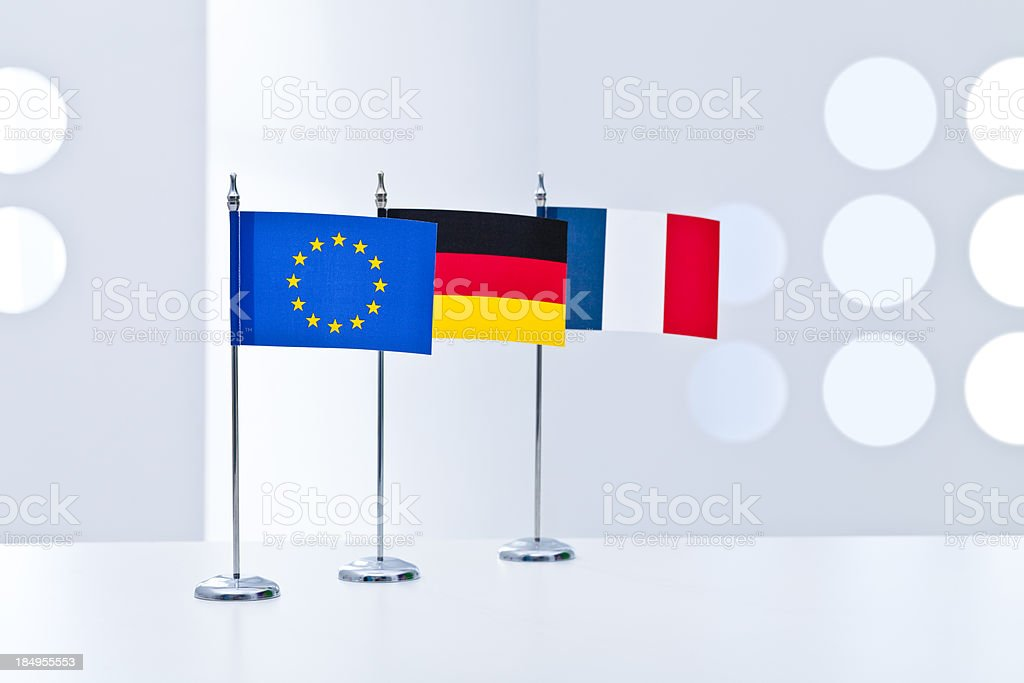 Germany, France and European Union flags royalty-free stock photo