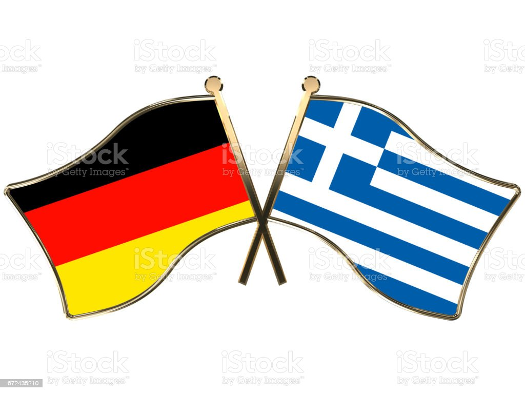 Germany Greece flags insignia stock photo