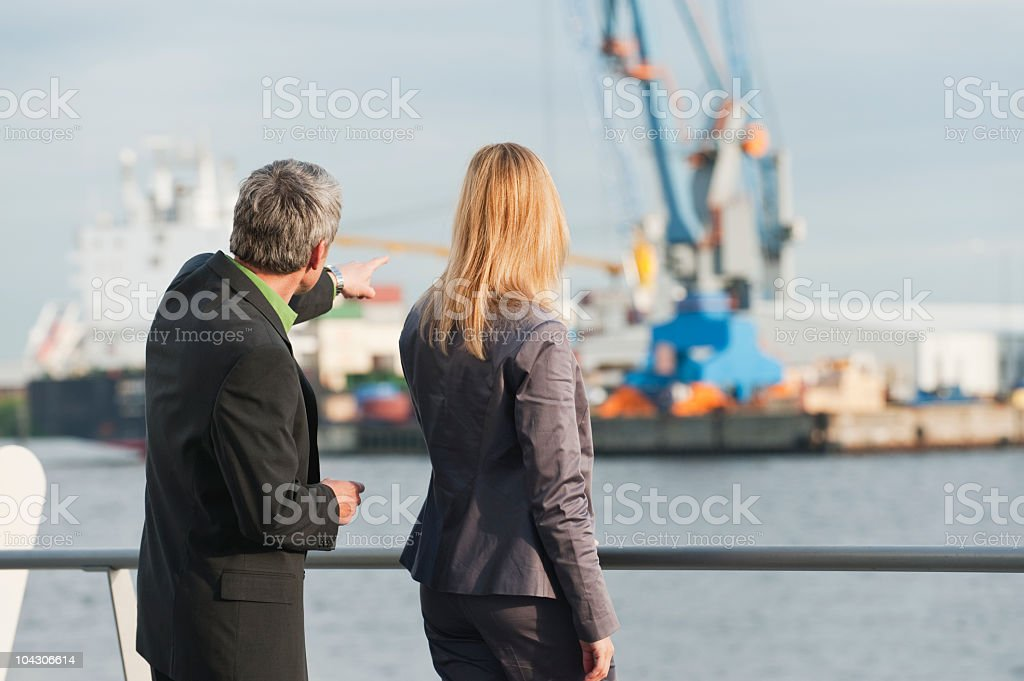 Germany, Hamburg, Business people at harbour royalty-free stock photo