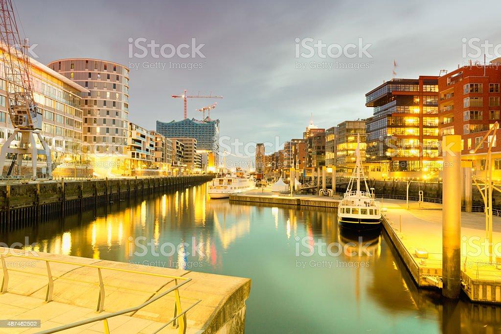 Germany, Hamburg, Hafencity, modern architecture at the waterfro stock photo