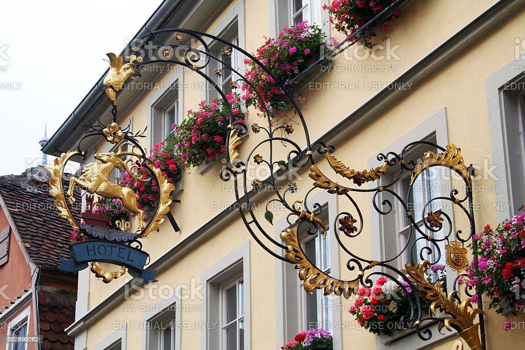 Germany: Hotel Sign in Rothenburg ob der Tauber stock photo