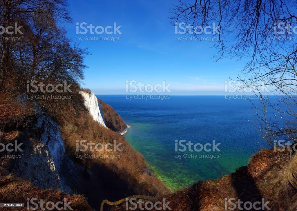 Germany, Island Rügen, Jasmund, Königstuhl in spring panorama stock photo