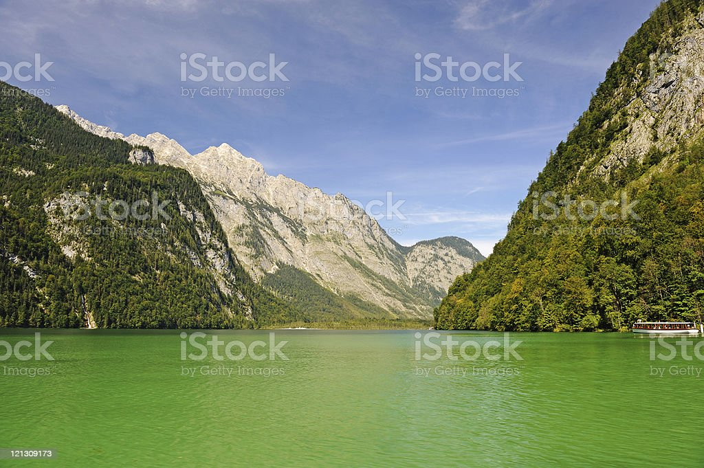Germany K?nigssee Lake of King Summer with Ship stock photo
