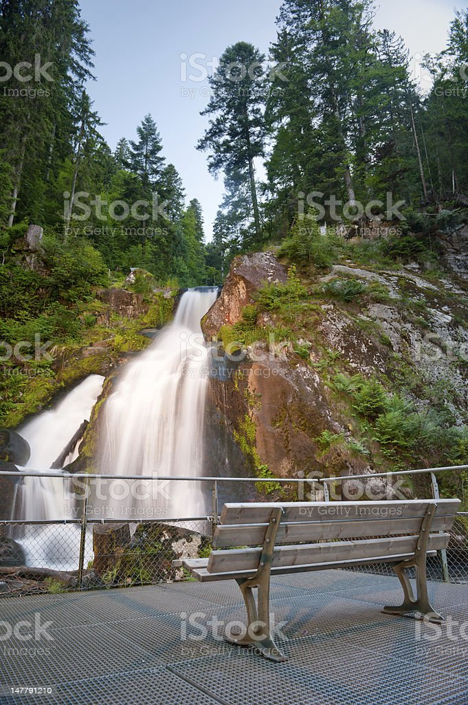 Germany larger waterfall in triberg at the blue hour stock photo