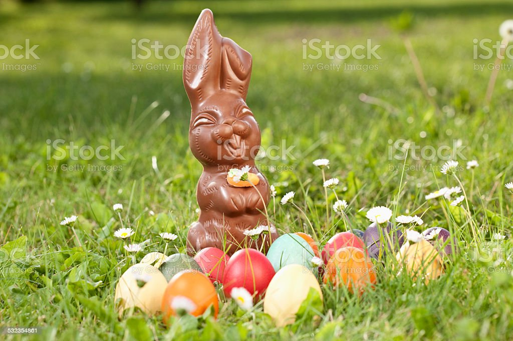 Germany, Lower Bavaria, Variety of Easter eggs on grass stock photo
