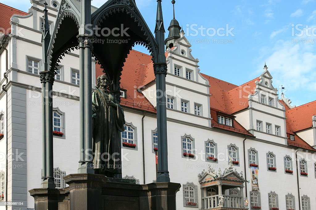 Germany Lutherstadt Wittenberg city hall and statue of Philipp Melanchthon stock photo