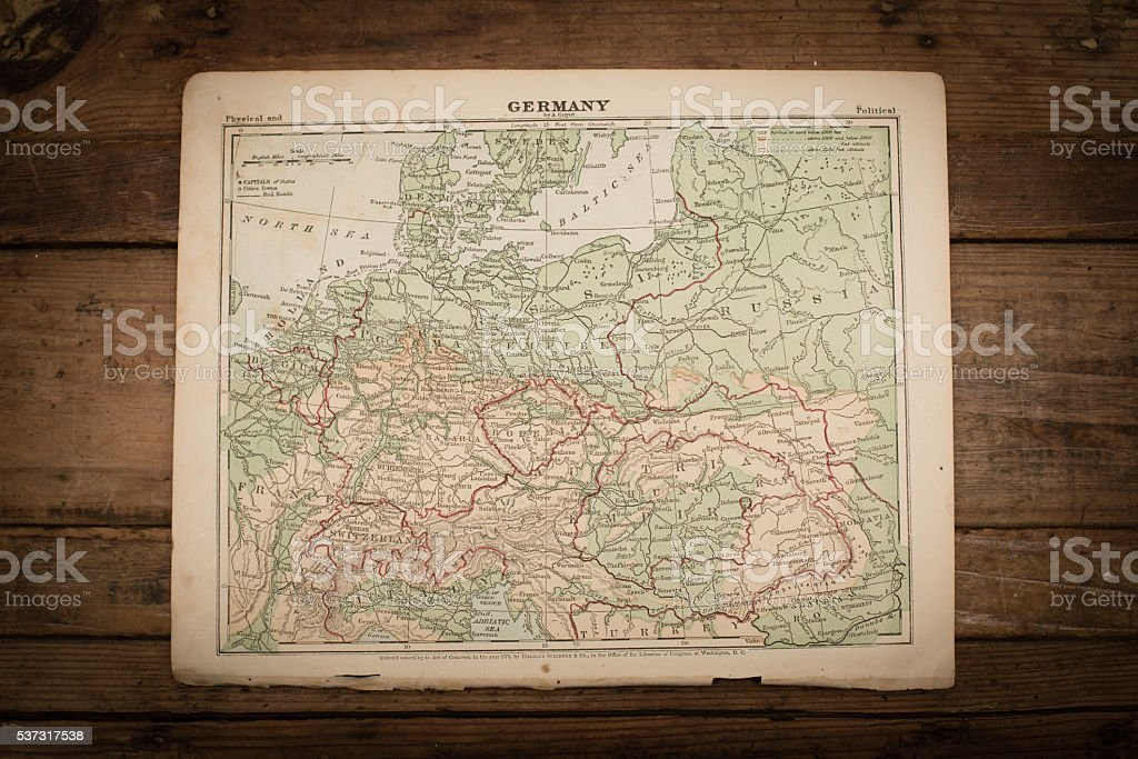 Germany Map Illustration, Travel, Antique 1871 Book Page stock photo