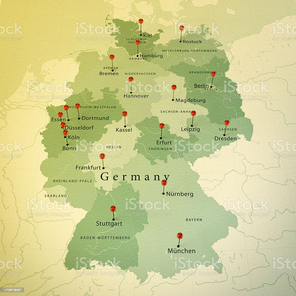 Germany Map Square Cities Straight Pin Vintage stock photo