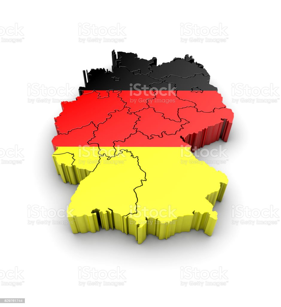 Germany map with flag and shadow on white background. 3D rendering. stock photo