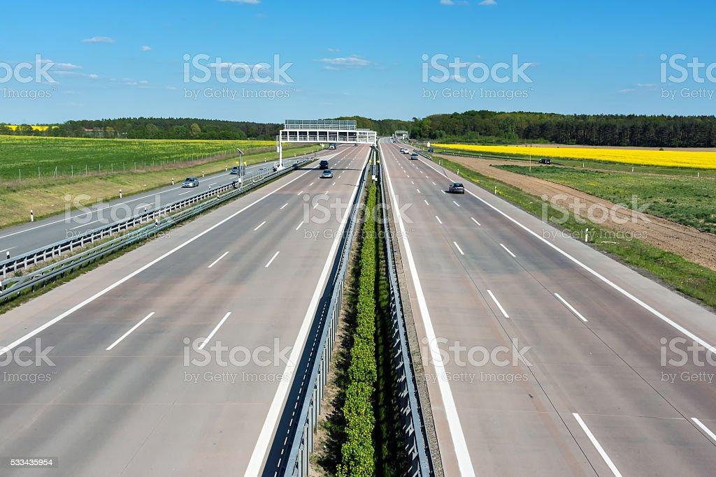 Germany motoway on a sunny day stock photo