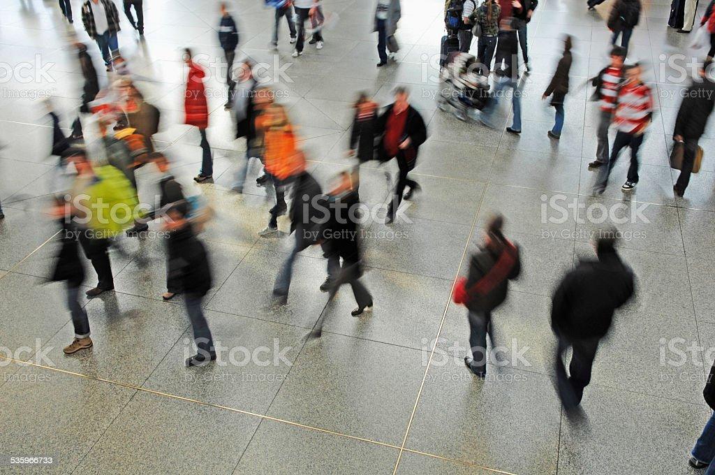 Germany, Munich, Passengers at railway station stock photo