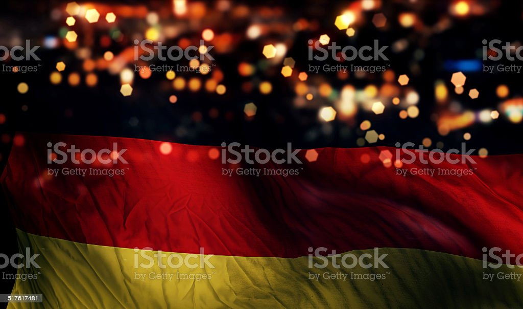 Germany National Flag Light Night Bokeh Abstract Background stock photo