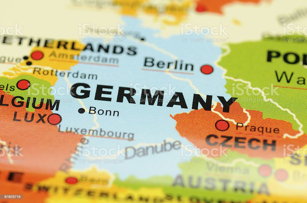 Germany on map stock photo