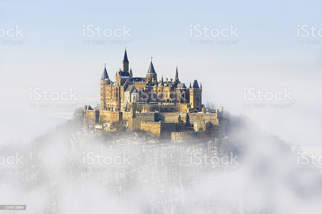 Germany Palace Hohenzollern Winter Fog stock photo