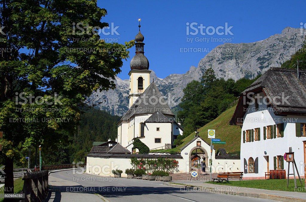 Germany: Parish Church of St. Sebastian in Ramsau stock photo