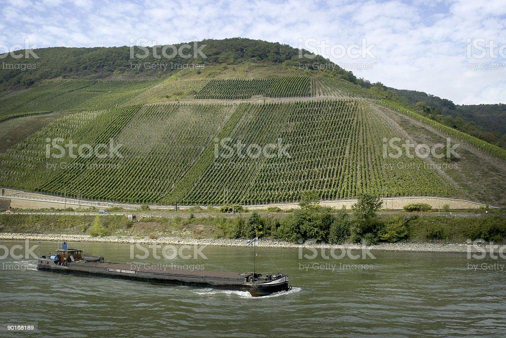 Germany Rhine River Ship Vineyard stock photo