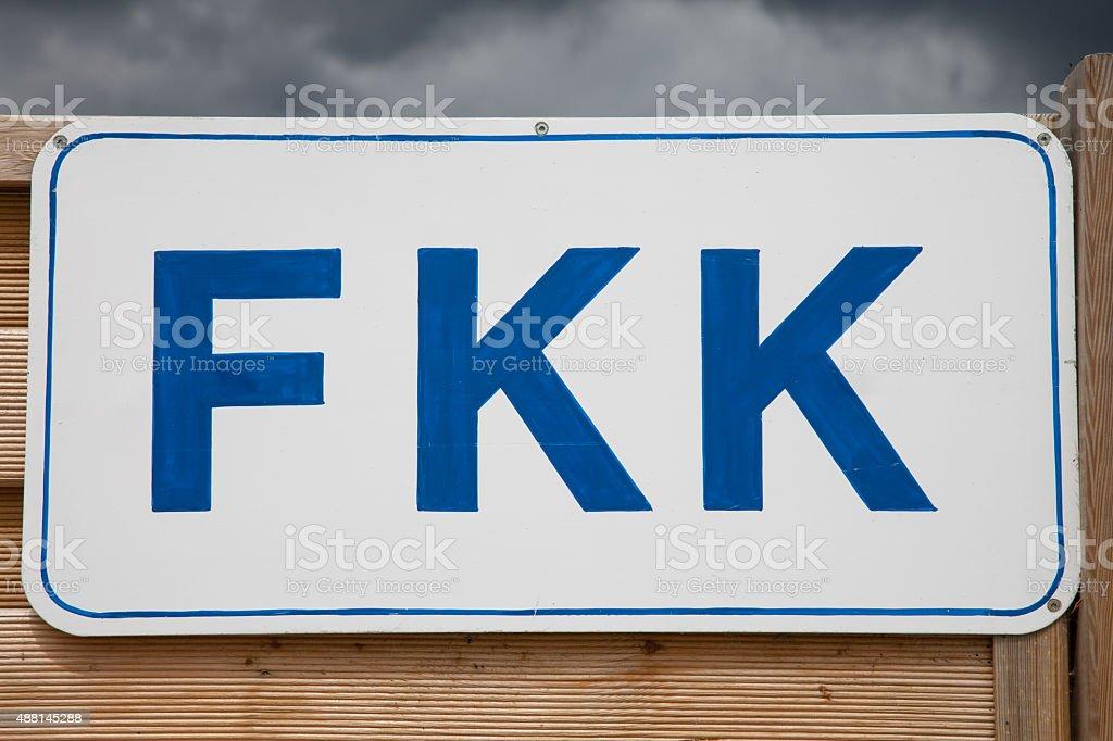 Germany, Schleswig-Holstein, Baltic Sea, Sign FKK at beach stock photo