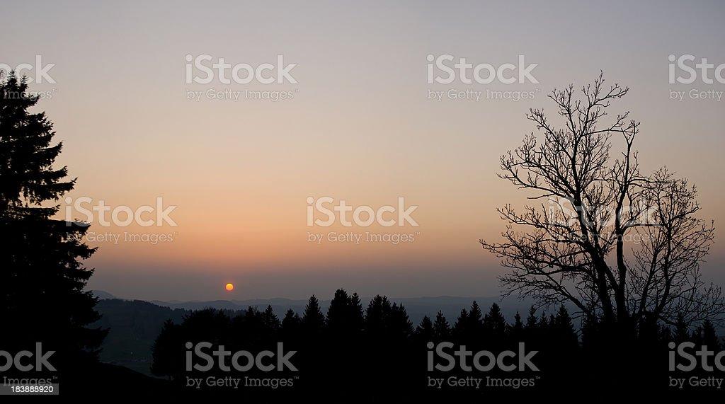 Germany Sunset Orange Sky royalty-free stock photo