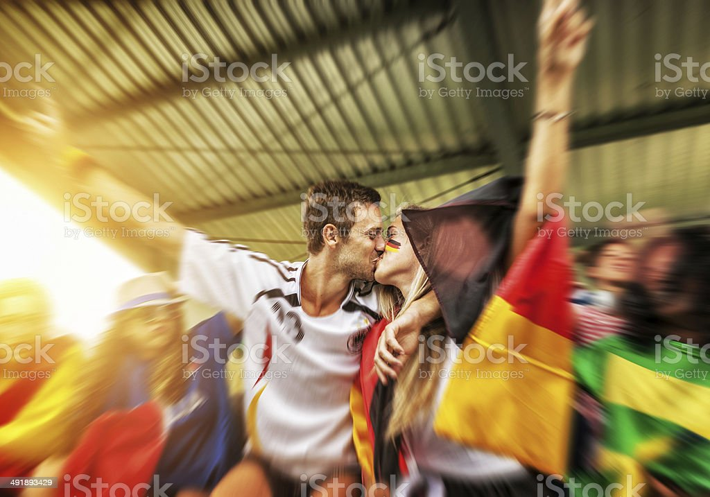Germany supporters and love after winning stock photo