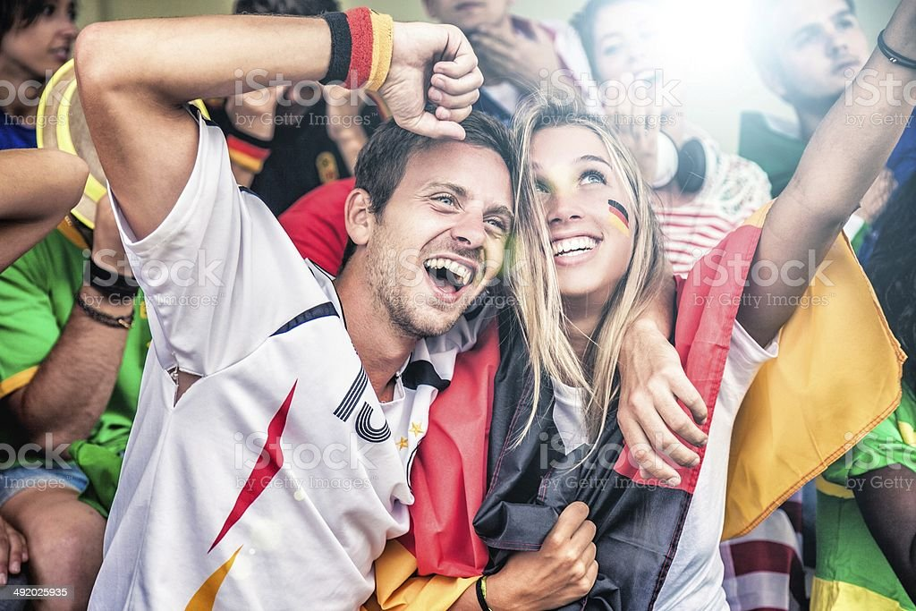 Germany supporters in the stadium stock photo