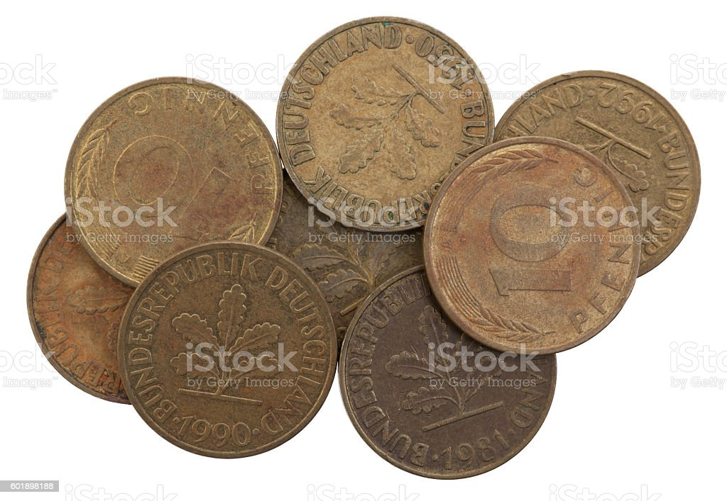 Germany ten Pfennig Coins, selective focus stock photo